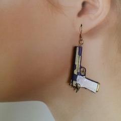 Joker pistol earrings, gift for her, gun earrings