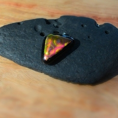 Black and Orange dichroic fused glass triangle pendant.