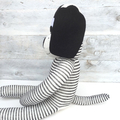 'Denny' the Sock Dog - white with dark grey pinstripes - *MADE TO ORDER*