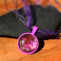 Glorious Glitter-  Round Glass Tile Pendant