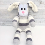 'Bernie' the Sock Bunny - grey & cream - *READY TO POST*
