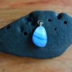 Variegated blue teardrop fused glass pendant