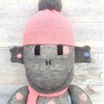 'Hayley' the Sock Monkey - grey with coloured spots - *MADE TO ORDER*