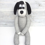 'Denny' the Sock Dog - Light grey with dark grey stripes - *READY TO POST*
