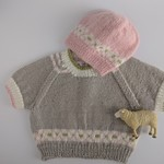Short sleeve Hand knit jumper and hat