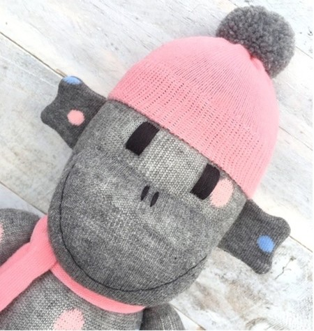 'Hayley' the Sock Monkey - grey with coloured spots - *READY TO POST*