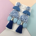 Statement polymer clay earrings, in marbled blue