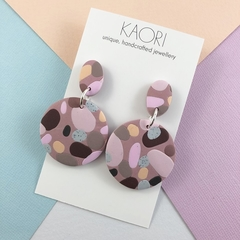 Polymer clay earrings, large circles in lilac pink spot