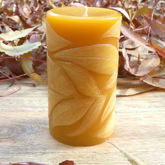 Autumn Leaves Pillar 8.5cmx5cm Beeswax Candle