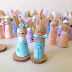 Peg Doll Bunnies Set of 2 Mint