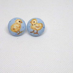 Easter - Blue Earrings with Chickens
