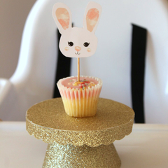 Bunny Pink Birthday Custom Made Bunny Face Cupcake Toppers Decoration Set of 12