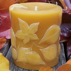 Autumn Leaves Pillar, 9cmx8cm Pure Beeswax Candle