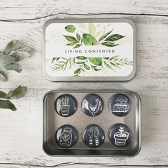 "Gardening Magnet set of 6 - 1"" magnets set in tin"