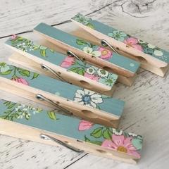 French Blue Floral Peg Magnets - Fridge Magnets - Set of 5 - Set B - floral -