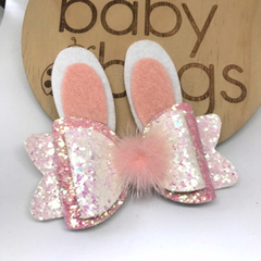 """Bunny Glitter Hair Bow Pink white 4"""" Easter Pom Pom"""