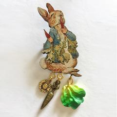 Wooden Peter Rabbit Brooch