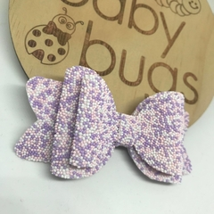 """Easter Egg Pastel Hair Bow 4"""" Purple Pink White clip"""