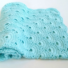 Mint Hand Crocheted Newborn Baby Blanket