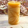 Autumn Leaves Pillar 8.5cmx5cm Beeswax Candle