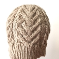 Child , Teen, Adult Sm , FREE POST , Wool, Beanie Hat, Beige Brown, Hand Knit
