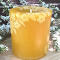 Pure Beeswax Pillar Candle, Tea Tree Blossom Design 9cmx8cm