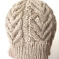 Child , Teen, Adult Sm , FREE POST , Wool, Beanie Hat, Beige Brown, Hand Knit