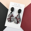 Polymer clay earrings, statement earrings in black white burgundy red floral