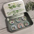 """Country Garden Magnet set of 6 - 1"""" magnets set in tin"""