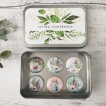 "Country Garden Magnet set of 6 - 1"" magnets set in tin"