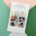 Polymer clay earrings, in mustard, pink, olive green