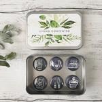 """Gardening Magnet set of 6 - 1"""" magnets set in tin"""