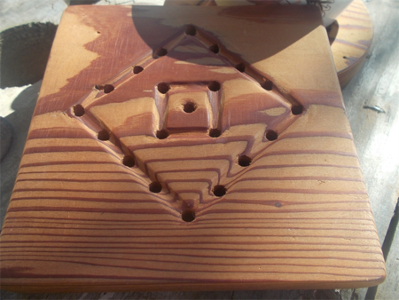 Square trivet hand tooled from reclaimed Canadian Cedar ON SALE!!!
