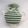 Mid Green, Forest Green and White Pure Merino Wool Tea Cosy