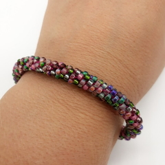 Pink Purple  Green Silver Kumihimo Beaded Bracelet Boho