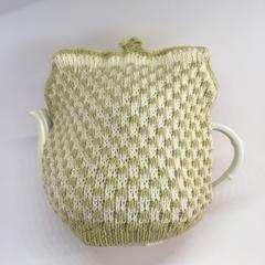 Avocado Green and White Check Pattern Pure Merino Wool Tea Cosy