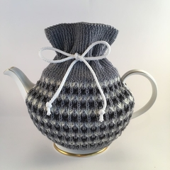 Grey, Charcoal and White Pure Merino Wool Tea Cosy