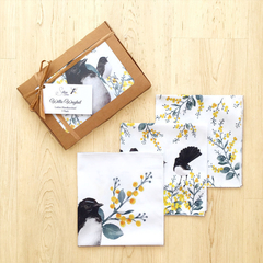 Australian Handkerchief 3 pack Willie Wagtail, Australian theme gifts