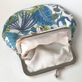 Floral leaf and bird coin purse / wristlet - blue, green, white retro