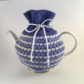 Mid Blue, Light Blue and White Pure Merino Wool Tea Cosy