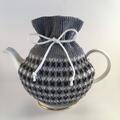 Grey, Charcoal and White Pure Merino Wool Tea Cosy