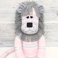 'Lila' the Sock Lion - grey and pink - *MADE TO ORDER*