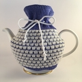 Mid Blue and White Pure Merino Wool Tea Cosy