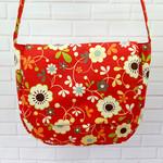 Girls Red Floral Crossbody Messenger Bag