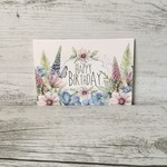 Mini size Happy Birthday Card - LCC026 - Watercolour florals - Living Contented