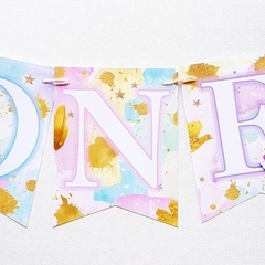Rainbow Unicorn ONE Banner High Chair Custom Made BuntingBanner