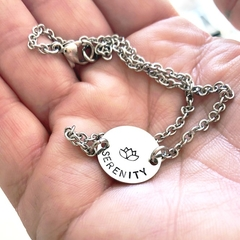Hand Stamped Anklet, Serenity Anklet, Lotus Jewellery, Inspiration Anklet