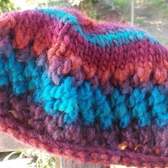 child's knitted beret, wool and soy yarn, multi-coloured ON SALE!!!