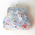 Alice in wonderland coin purse / wristlet - blue and white