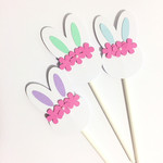 Floral Bunny Rabbit Cupcake Toppers. Pastel colours. Easter, Baby shower, first